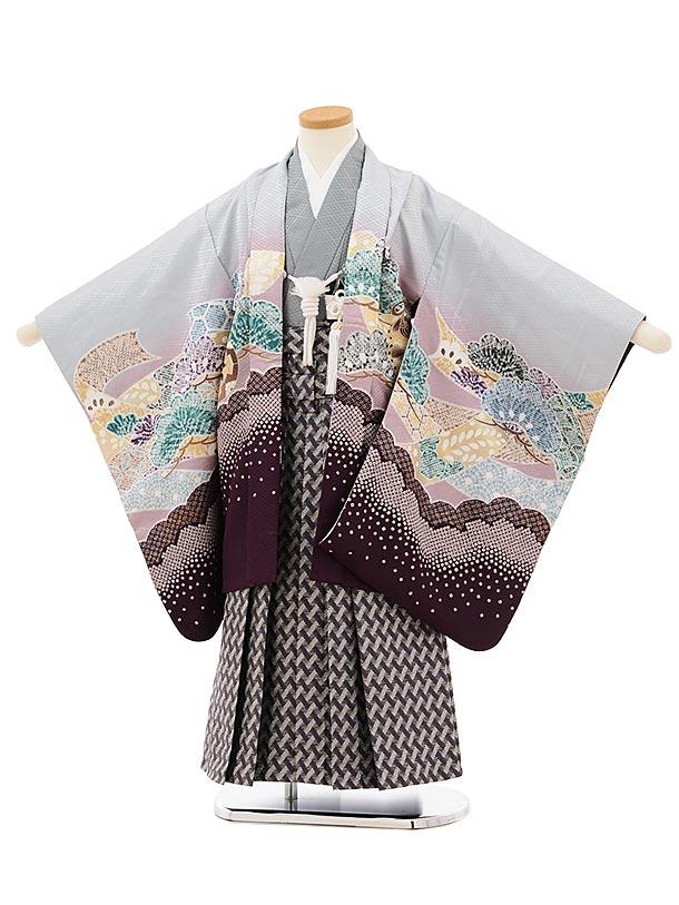 かんたん七五三レンタル(5歳男袴)5682薄グレー地裾パープル鷹xパープル袴