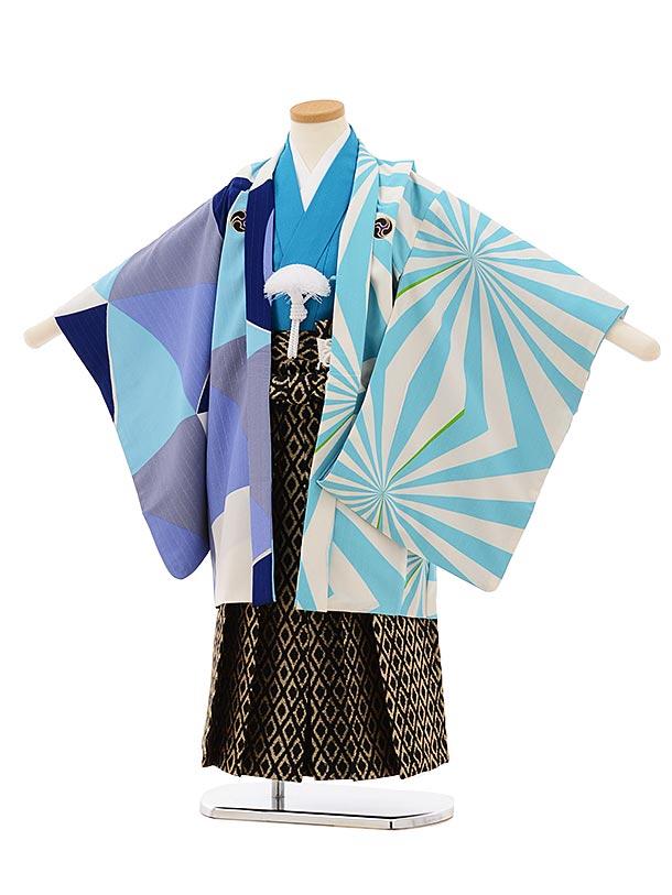 七五三レンタル(5歳男袴)5685蒼 水色変わり柄アシンメトリーx黒地袴