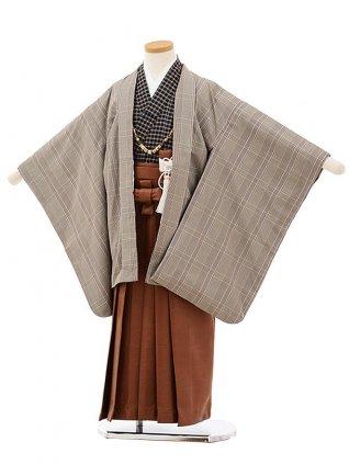 七五三(5歳男袴)5686グレーチェックx茶色レザー風袴