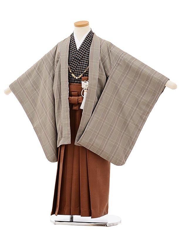 七五三レンタル(5歳男袴)5686グレーチェックx茶色レザー風袴