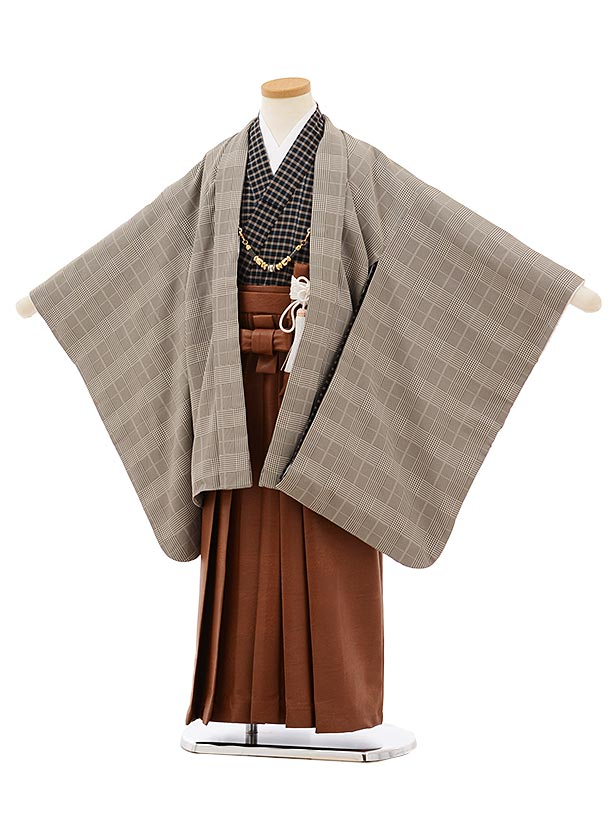 七五三レンタル(5歳男袴)5687グレーグレンチェックx茶色レザー風袴