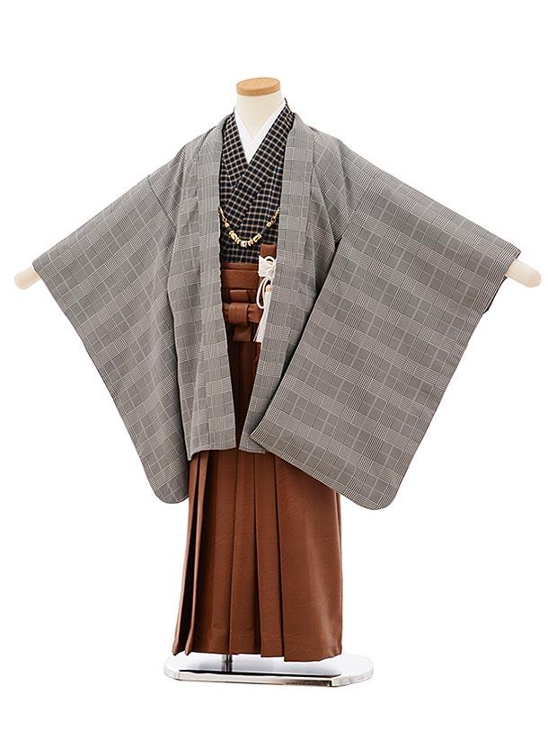 七五三レンタル(5歳男袴)5688黒グレンチェックx茶色レザー風袴