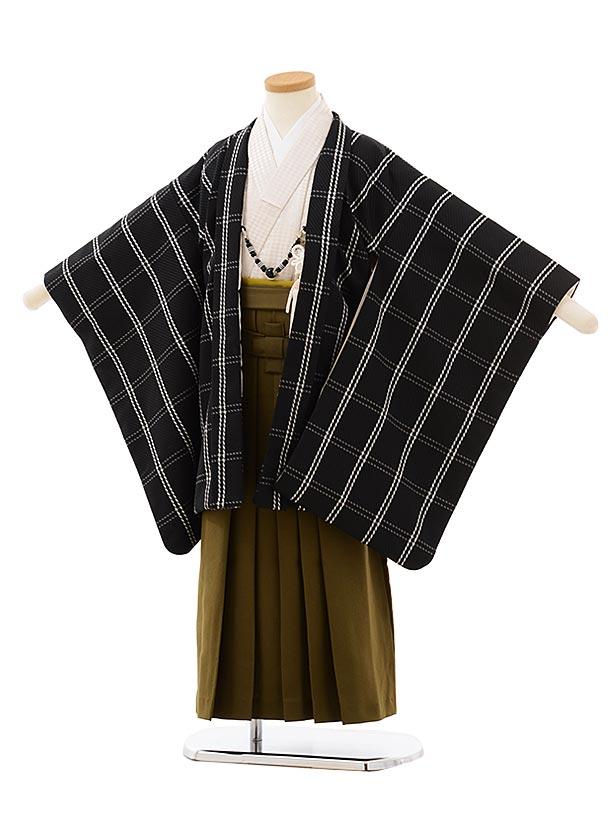 かんたん七五三レンタル(5歳男袴)5689黒チェックxカーキ色袴