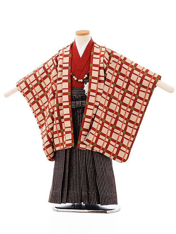 七五三レンタル(4歳,5歳男袴)5691ベージュ格子x黒シルバー袴