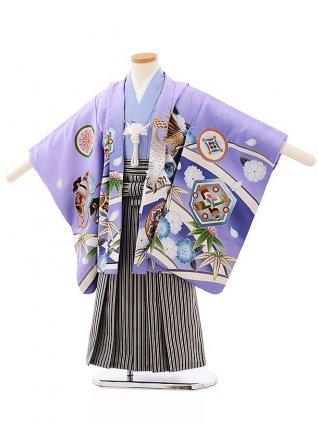 七五三(4歳,5歳男袴)5692パープルぼかし紋に鷹x黒白縞袴