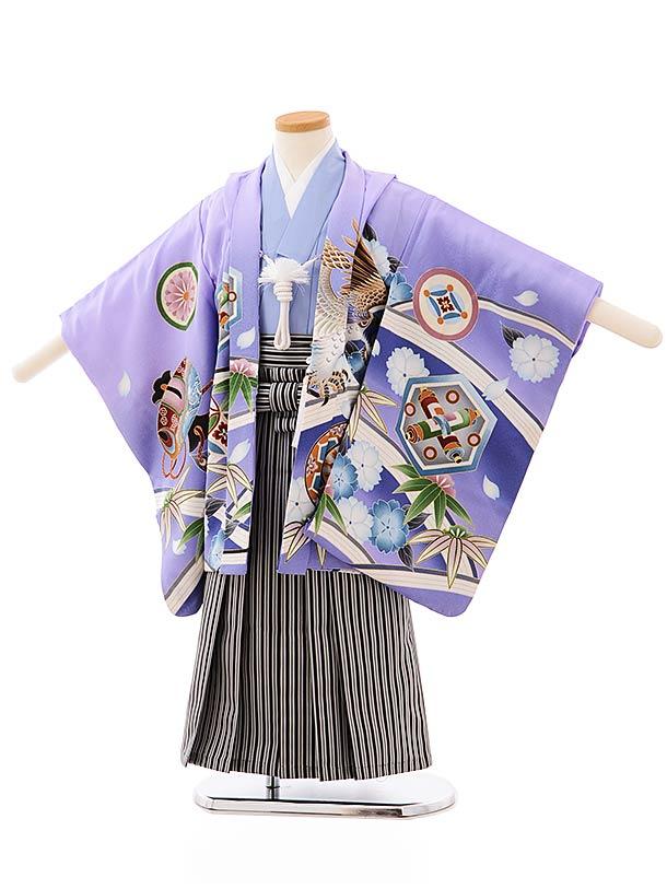 七五三レンタル(4歳,5歳男袴)5692パープルぼかし紋に鷹x黒白縞袴