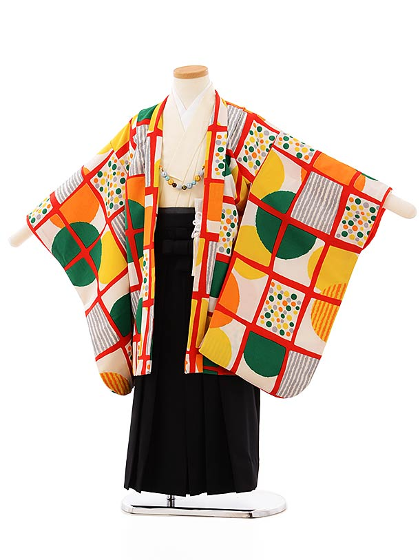 七五三レンタル(5歳男袴)5693白地格子に丸x黒袴
