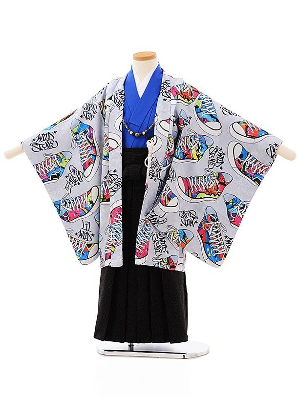 七五三レンタル(5歳男袴)5695グレー地スニーカー黒ラメ袴