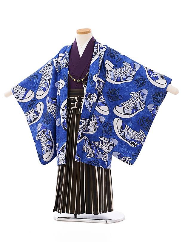 七五三レンタル(5歳男袴)5696ブルー地スニーカーxブラウンストライプ袴