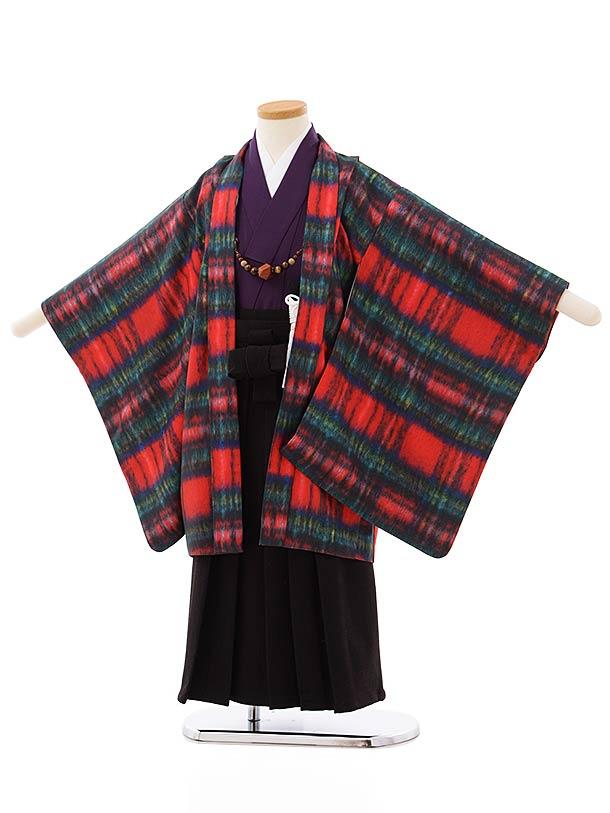 七五三レンタル(5歳男袴)5697赤チェックプリントxこげ茶袴