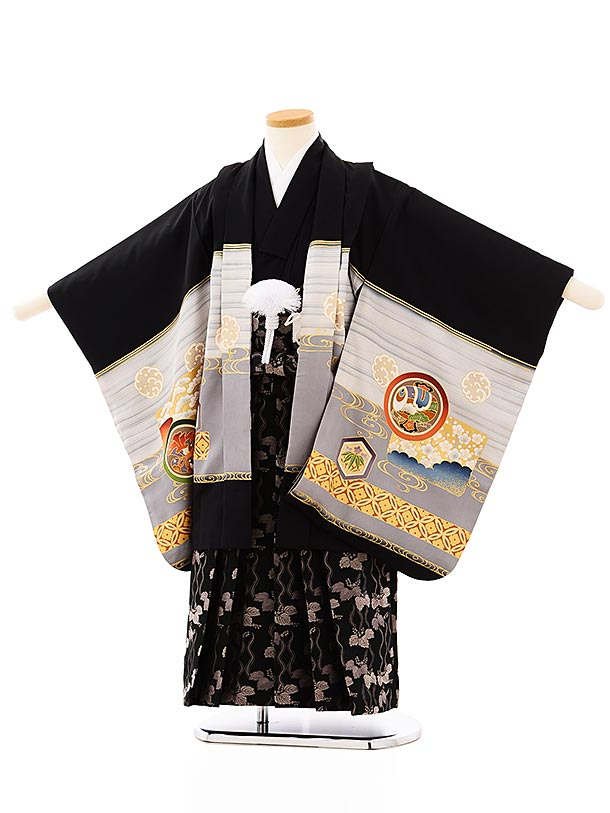 七五三レンタル(5歳男袴)5698黒地丸紋鷹x黒地桐袴