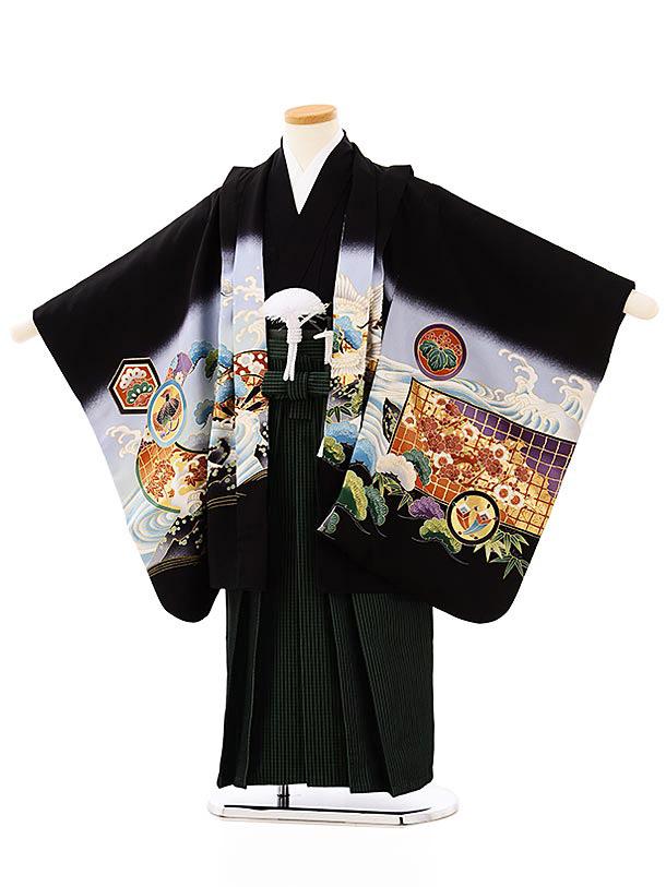 七五三レンタル(5歳男袴)5699黒地波に鷹紋x黒緑縞袴