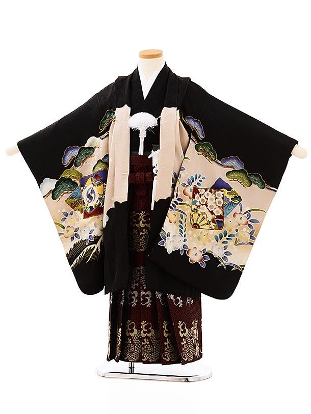七五三レンタル(5歳男袴)5700黒地波に松鷹xエンジゴールド袴