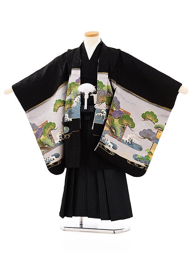 七五三レンタル(5歳男袴)5702黒地松竹梅龍に鷹x紺グレー縞袴