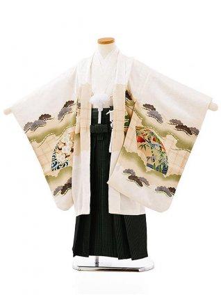 七五三(5歳男袴)5704白地松扇かぶとx黒緑縞袴