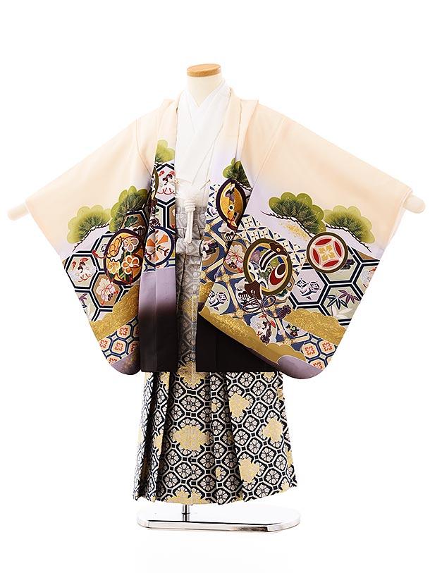 七五三レンタル(5歳男袴)5707クリーム色亀甲に丸紋鷹x紺ぼかし菱袴
