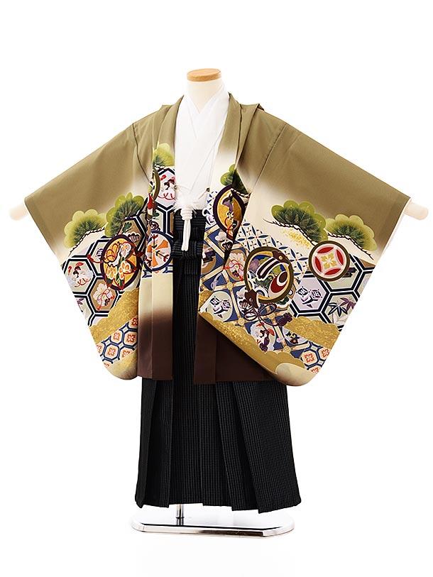 七五三レンタル(5歳男袴)5711抹茶色地亀甲に丸紋兜x紺グレー縞袴