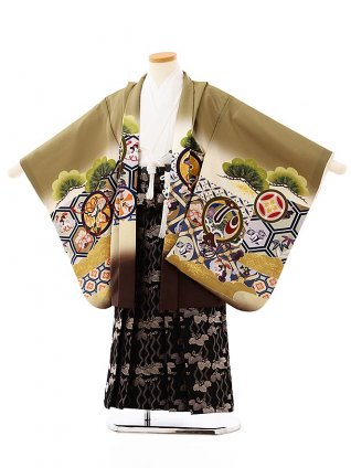 七五三(5歳男袴)5712抹茶色地亀甲に丸紋兜x黒地桐袴