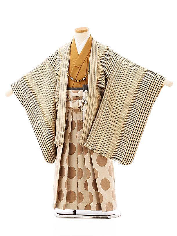 七五三レンタル(5歳男袴)5716 ベージュ縞xベージュドット袴