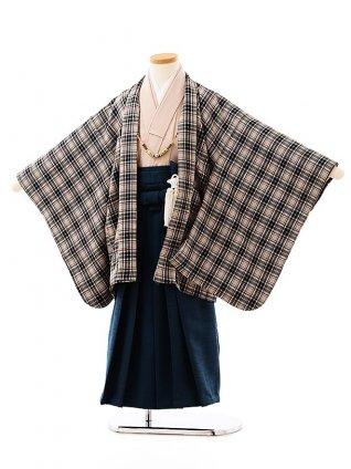 七五三(5歳男袴)5717 ベージュチェックxブルーグリーン袴