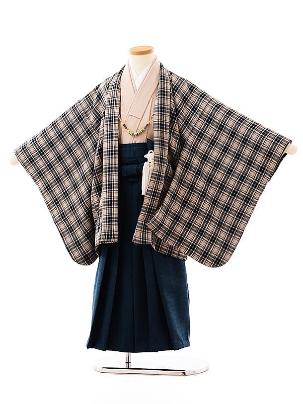 七五三レンタル(5歳男袴)5717 ベージュチェックxブルーグリーン袴