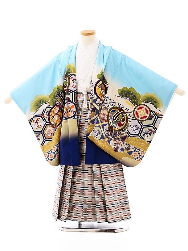 かんたん七五三レンタル(5歳男袴)5719水色亀甲に丸紋鷹xグレー赤ブルー袴