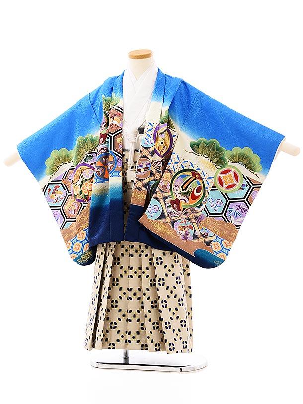 かんたん七五三レンタル(5歳男袴)5721ブルー地亀甲に丸紋鷹xベージュ袴