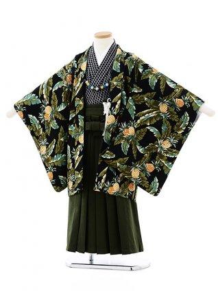 七五三(5歳男袴)5722SABINUKI 黒トロピカルxグリーン袴
