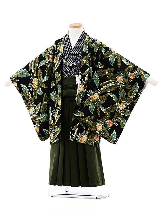 七五三レンタル(5歳男袴)5722SABINUKI 黒トロピカルxグリーン袴