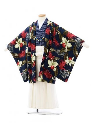 七五三(5歳男袴)5723SABINUKI 紺トロピカルxクリーム色袴