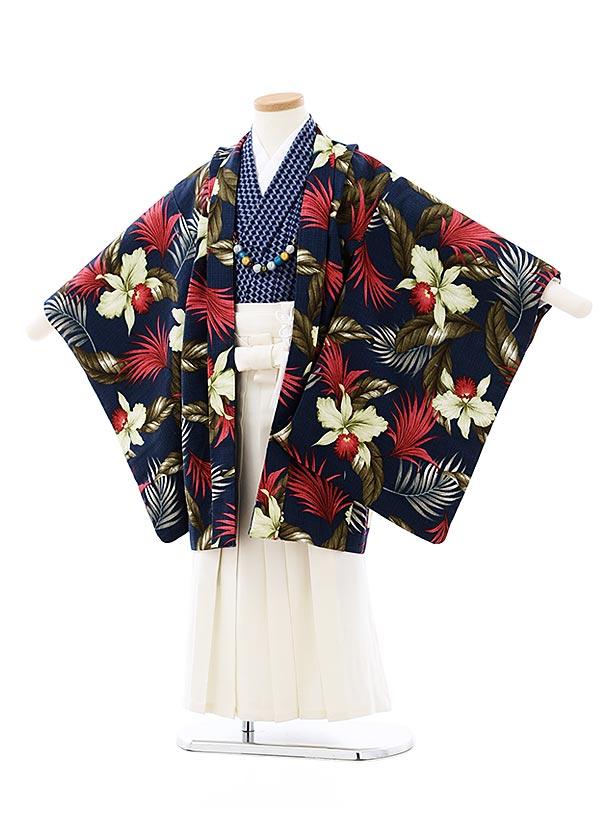 七五三レンタル(5歳男袴)5723SABINUKI 紺トロピカルxクリーム色袴
