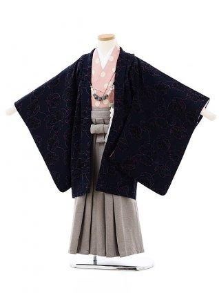 七五三(5歳男袴)5724SABINUKI 紺地花xグレー袴