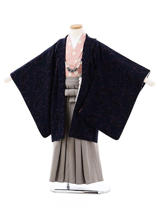 七五三レンタル(5歳男袴)5724SABINUKI 紺地花xグレー袴