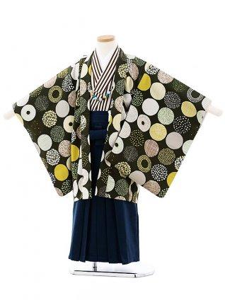 七五三(5歳男袴)5725SABINUKI モスグリーンx紺ラメ袴