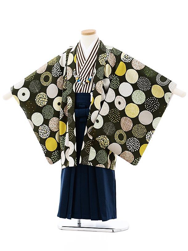 七五三レンタル(5歳男袴)5725SABINUKI モスグリーンx紺ラメ袴