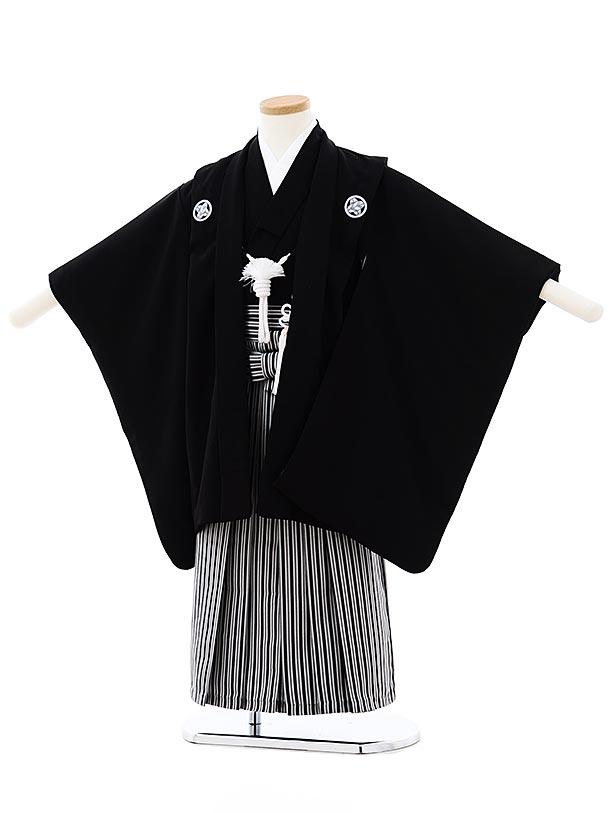 七五三レンタル(4歳,5歳男袴)5726黒紋付x黒白縞袴