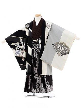 七五三レンタル(5歳男袴)5727JAPAN STYLE 黒白縞鷹x黒シルバー袴
