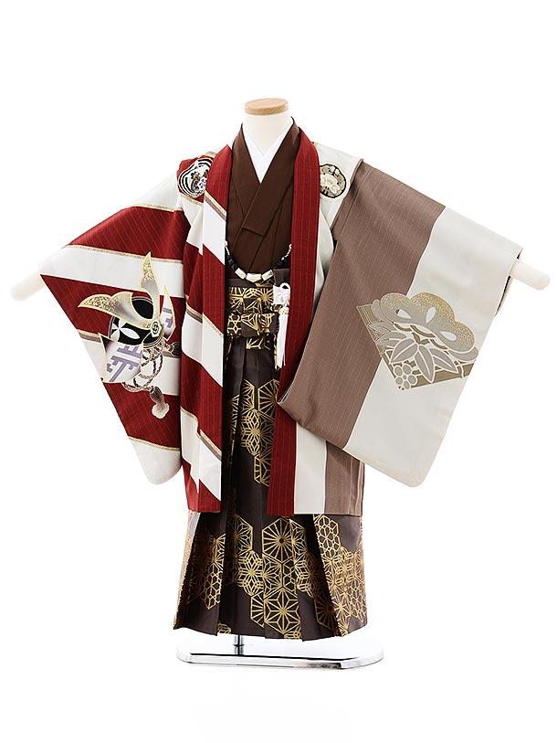 七五三(5歳男袴)5728JAPAN STYLE エンジ白縞鷹x茶色ゴールド袴