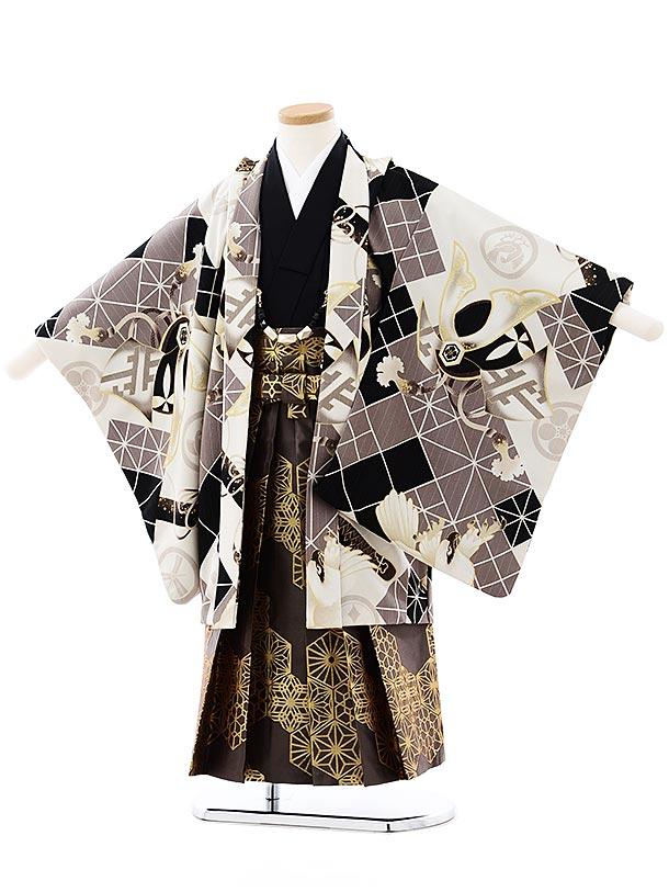 七五三(5歳男袴)5729JAPAN STYLE 黒グレー鷹兜x茶色ゴールド袴