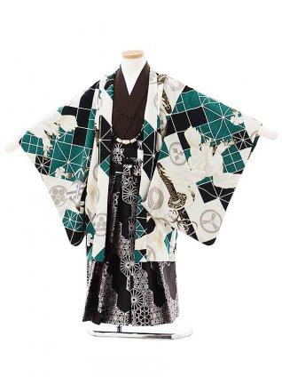 七五三(5歳男袴)5730JAPAN STYLE 黒グリーン鷹兜x黒シルバー袴