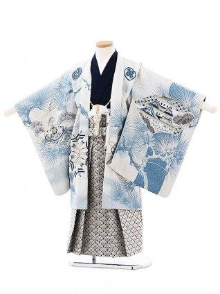 七五三(5歳男袴)5732華徒然 うす水色城松xうすグレー花袴