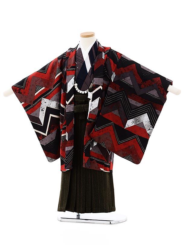 七五三レンタル(5歳男袴)5733モダンアンテナ 黒赤小紋稲妻xグリーン袴