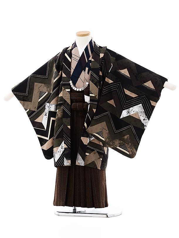 七五三レンタル(5歳男袴)5734モダンアンテナ 黒カーキ小紋稲妻xブラウン袴