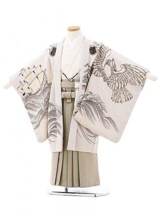 七五三レンタル(5歳男袴)5736九重 うすベージュ地大航海x黒袴
