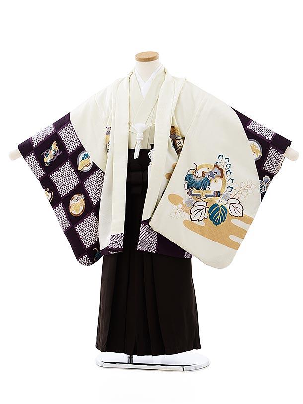 七五三レンタル(5歳男袴)5742うすグリーン丸紋吉祥文様xこげ茶袴