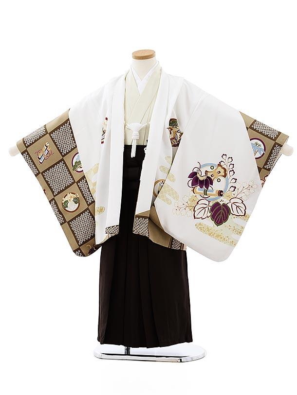 七五三レンタル(5歳男袴)5743白地丸紋吉祥文様xこげ茶袴