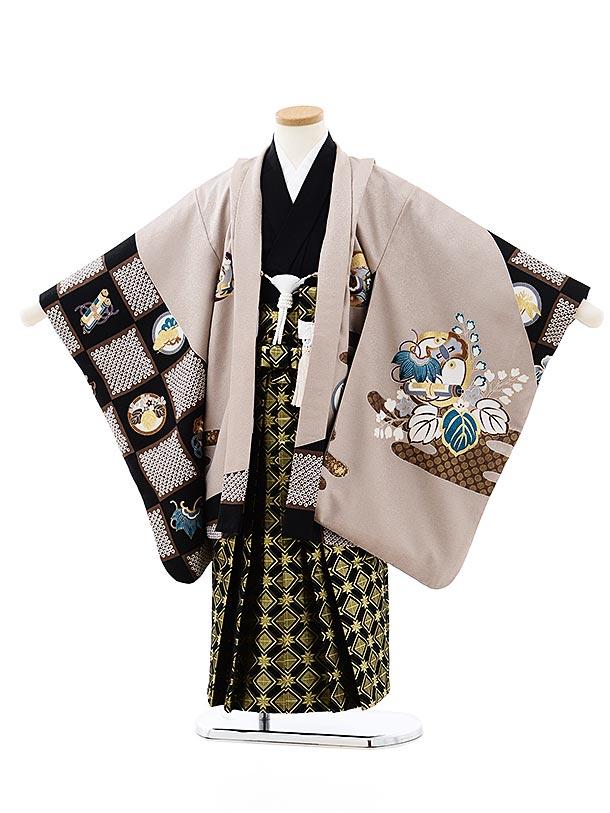七五三レンタル(5歳男袴)5745モカ茶丸紋吉祥文様x黒ゴールド袴