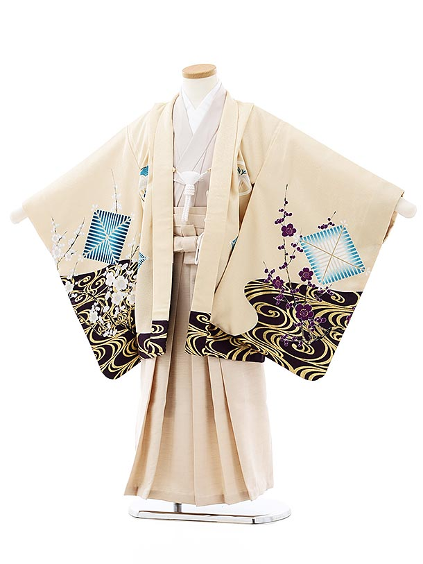 七五三レンタル(5歳男袴)5747ライトベージュ水面梅鷹xベージュラメ袴