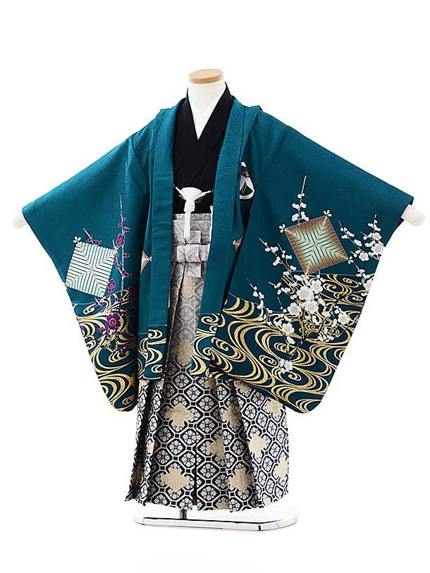 七五三レンタル(5歳男袴)5749エメラルドブルー水面梅鷹xグレー紺ぼかし袴