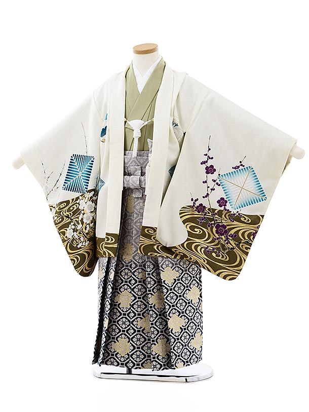 七五三レンタル(5歳男袴)5750白地水面梅鷹xグレー紺ぼかし袴